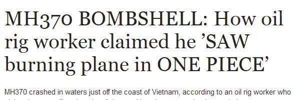 马航MH370失踪之谜:越南石油工人他看到了燃烧的马航MH370坠入海